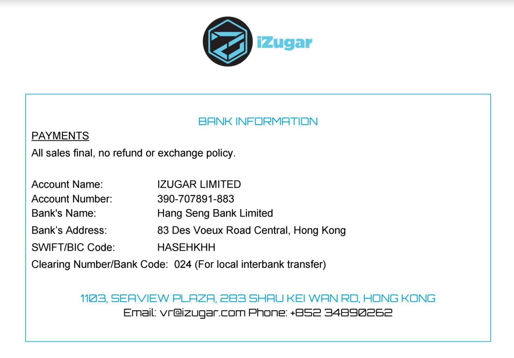 Izugar Limited Online Shop Worldwide Shipment Bank Transfer